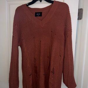 Orange Frayed Sweater